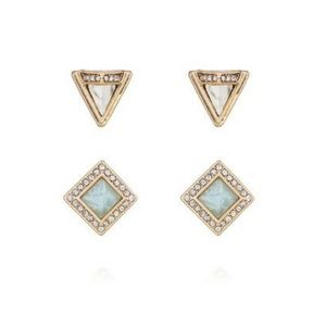 Chloe + Isabel Portico white and blue pave studs